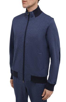 Мужской хлопковый спортивный костюм CAPOBIANCO синего цвета, арт. 11MT19.AL00.   Фото 2 (Материал подклада: Хлопок; Материал внешний: Хлопок; Рукава: Длинные; Кросс-КТ: Спорт)