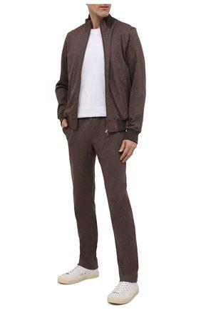 Мужской хлопковый спортивный костюм CAPOBIANCO коричневого цвета, арт. 11MT20.ALNT.   Фото 1 (Материал внешний: Хлопок; Рукава: Длинные; Материал подклада: Хлопок; Кросс-КТ: Спорт)