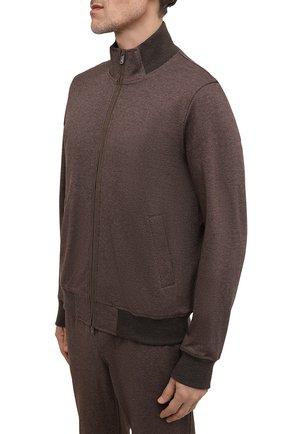 Мужской хлопковый спортивный костюм CAPOBIANCO коричневого цвета, арт. 11MT20.ALNT.   Фото 2 (Материал внешний: Хлопок; Рукава: Длинные; Материал подклада: Хлопок; Кросс-КТ: Спорт)