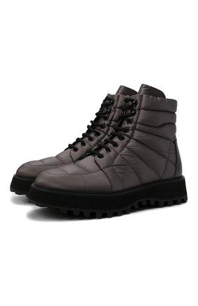 Мужские текстильные ботинки DOLCE & GABBANA серебряного цвета, арт. A60404/AQ303 | Фото 1 (Материал внешний: Текстиль; Материал внутренний: Натуральная кожа; Мужское Кросс-КТ: Ботинки-обувь, Хайкеры-обувь; Каблук высота: Высокий; Подошва: Массивная)