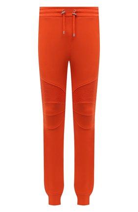 Мужские хлопковые джоггеры BALMAIN оранжевого цвета, арт. WH00B000/B152 | Фото 1 (Материал внешний: Хлопок; Силуэт М (брюки): Джоггеры; Мужское Кросс-КТ: Брюки-трикотаж; Стили: Спорт-шик; Длина (брюки, джинсы): Стандартные)