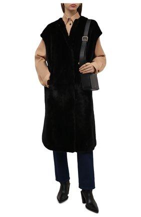 Женский жилет из меха норки KUSSENKOVV черного цвета, арт. 822800002583 | Фото 2 (Длина (верхняя одежда): До колена; Материал внешний: Натуральный мех; Стили: Гламурный; Женское Кросс-КТ: Мех, Жилет-одежда)