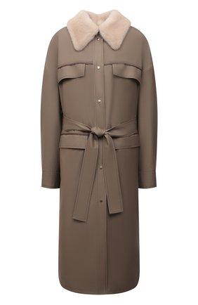 Женское пальто с меховой подкладкой KUSSENKOVV серого цвета, арт. 709009612553 | Фото 1 (Длина (верхняя одежда): До колена; Материал утеплителя: Натуральный мех; Материал внешний: Шерсть; Рукава: Длинные; Стили: Гламурный; 1-2-бортные: Однобортные)
