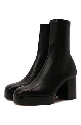 Женские кожаные ботильоны irenn CHLOÉ черного цвета, арт. CHC21A464T1 | Фото 1 (Материал внутренний: Натуральная кожа; Каблук высота: Высокий; Подошва: Платформа; Каблук тип: Устойчивый)