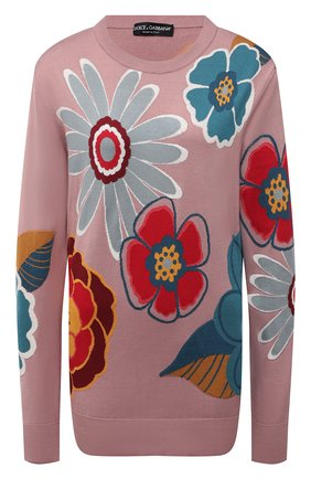 Женский шелковый пуловер DOLCE & GABBANA разноцветного цвета, арт. FXD08T/JASPL | Фото 1 (Рукава: Длинные; Материал внешний: Шелк; Длина (для топов): Удлиненные; Стили: Кэжуэл; Женское Кросс-КТ: Пуловер-одежда)