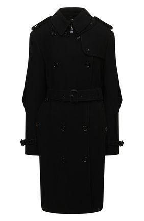 Женское пальто из кашемира и шерсти BURBERRY черного цвета, арт. 8046680 | Фото 1 (Материал подклада: Купро; Материал внешний: Кашемир, Шерсть; Длина (верхняя одежда): До колена; Рукава: Длинные; Стили: Гламурный; 1-2-бортные: Двубортные)