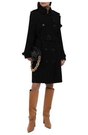 Женское пальто из кашемира и шерсти BURBERRY черного цвета, арт. 8046680 | Фото 2 (Материал подклада: Купро; Материал внешний: Кашемир, Шерсть; Длина (верхняя одежда): До колена; Рукава: Длинные; Стили: Гламурный; 1-2-бортные: Двубортные)