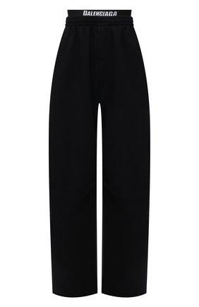 Женские хлопковые брюки BALENCIAGA черного цвета, арт. 675248/TLVA1 | Фото 1 (Материал внешний: Хлопок; Длина (брюки, джинсы): Удлиненные; Стили: Спорт-шик; Женское Кросс-КТ: Брюки-одежда; Силуэт Ж (брюки и джинсы): Широкие)