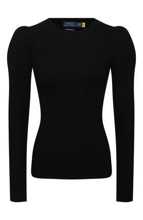 Женский шерстяной пуловер POLO RALPH LAUREN черного цвета, арт. 211847014 | Фото 1 (Рукава: Длинные; Материал внешний: Шерсть; Длина (для топов): Стандартные; Стили: Кэжуэл; Женское Кросс-КТ: Пуловер-одежда)