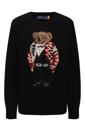 Женский пуловер из шерсти и кашемира POLO RALPH LAUREN черного цвета, арт. 211847028 | Фото 1 (Материал внешний: Шерсть; Длина (для топов): Стандартные; Рукава: Длинные; Стили: Кэжуэл; Женское Кросс-КТ: Пуловер-одежда)