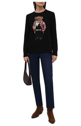 Женский пуловер из шерсти и кашемира POLO RALPH LAUREN черного цвета, арт. 211847028 | Фото 2 (Материал внешний: Шерсть; Длина (для топов): Стандартные; Рукава: Длинные; Стили: Кэжуэл; Женское Кросс-КТ: Пуловер-одежда)