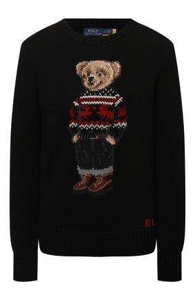 Женский хлопковый пуловер POLO RALPH LAUREN черного цвета, арт. 211847029 | Фото 1 (Материал внешний: Хлопок; Рукава: Длинные; Длина (для топов): Стандартные; Стили: Кэжуэл; Женское Кросс-КТ: Пуловер-одежда)