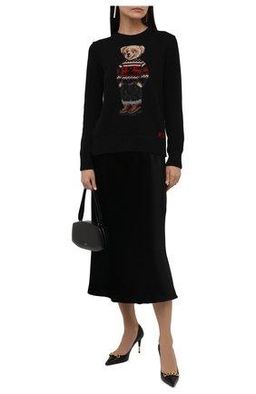 Женский хлопковый пуловер POLO RALPH LAUREN черного цвета, арт. 211847029 | Фото 2 (Материал внешний: Хлопок; Рукава: Длинные; Длина (для топов): Стандартные; Стили: Кэжуэл; Женское Кросс-КТ: Пуловер-одежда)
