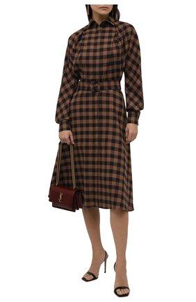 Женское платье из хлопка и шерсти KITON коричневого цвета, арт. D52314H07452   Фото 2 (Материал внешний: Хлопок; Рукава: Длинные; Стили: Кэжуэл; Случай: Повседневный; Женское Кросс-КТ: Платье-одежда; Длина Ж (юбки, платья, шорты): До колена)
