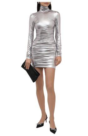 Женское платье DOLCE & GABBANA серебряного цвета, арт. F6U2TT/FUGMH | Фото 2 (Материал подклада: Шелк; Рукава: Длинные; Материал внешний: Синтетический материал; Длина Ж (юбки, платья, шорты): Мини; Стили: Гламурный; Случай: Вечерний; Женское Кросс-КТ: платье-футляр, Платье-одежда)