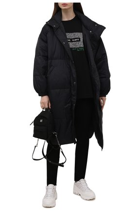 Женская хлопковая футболка DOLCE & GABBANA черного цвета, арт. F8P13T/FU75A | Фото 2 (Материал внешний: Хлопок; Длина (для топов): Удлиненные; Стили: Спорт-шик; Принт: С принтом; Женское Кросс-КТ: Футболка-одежда; Рукава: Короткие)