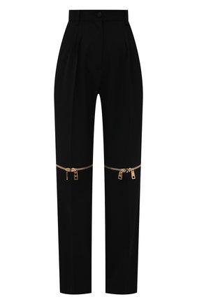 Женские шерстяные брюки DOLCE & GABBANA черного цвета, арт. FTB9UT/FU208 | Фото 1 (Материал внешний: Шерсть; Длина (брюки, джинсы): Удлиненные; Стили: Гламурный; Женское Кросс-КТ: Брюки-одежда; Силуэт Ж (брюки и джинсы): Прямые)