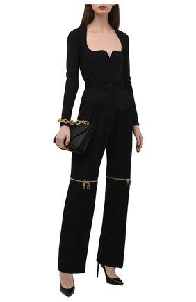 Женские шерстяные брюки DOLCE & GABBANA черного цвета, арт. FTB9UT/FU208 | Фото 2 (Материал внешний: Шерсть; Длина (брюки, джинсы): Удлиненные; Стили: Гламурный; Женское Кросс-КТ: Брюки-одежда; Силуэт Ж (брюки и джинсы): Прямые)
