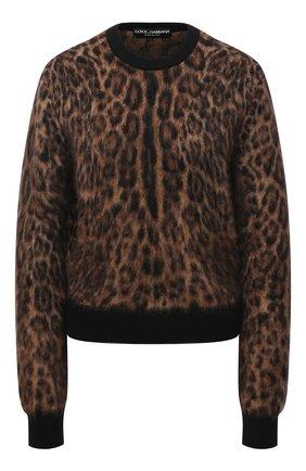 Женский пуловер DOLCE & GABBANA леопардового цвета, арт. FX469T/JAMA5 | Фото 1 (Материал внешний: Шерсть; Рукава: Длинные; Длина (для топов): Стандартные; Стили: Гламурный; Женское Кросс-КТ: Пуловер-одежда)