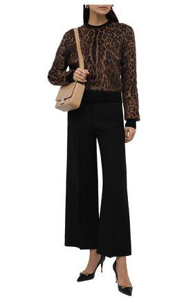 Женский пуловер DOLCE & GABBANA леопардового цвета, арт. FX469T/JAMA5 | Фото 2 (Материал внешний: Шерсть; Рукава: Длинные; Длина (для топов): Стандартные; Стили: Гламурный; Женское Кросс-КТ: Пуловер-одежда)