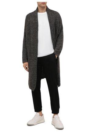 Мужской шерстяной кардиган TRANSIT темно-серого цвета, арт. CFUTRP22570 | Фото 2 (Материал внешний: Шерсть; Длина (для топов): Удлиненные; Рукава: Длинные; Мужское Кросс-КТ: Кардиган-одежда; Стили: Минимализм)