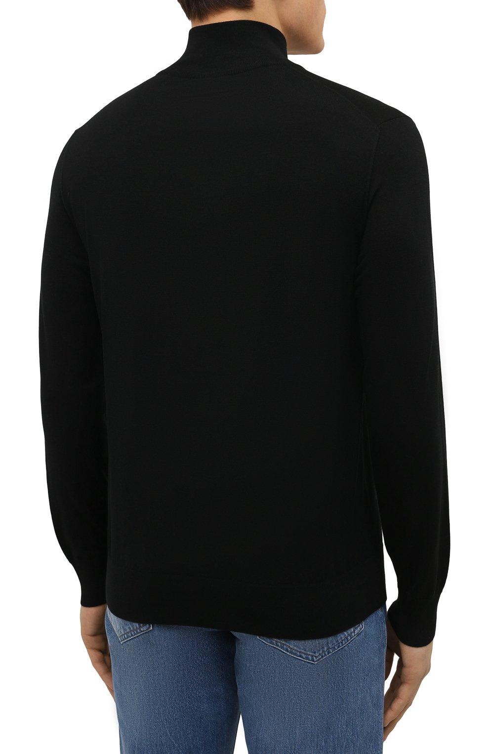 Мужской джемпер из шерсти и шелка BRIONI черного цвета, арт. UMS70L/09K86 | Фото 4 (Мужское Кросс-КТ: Джемперы; Материал внешний: Шерсть; Рукава: Длинные; Длина (для топов): Стандартные; Принт: С принтом; Вырез: Круглый; Стили: Кэжуэл)