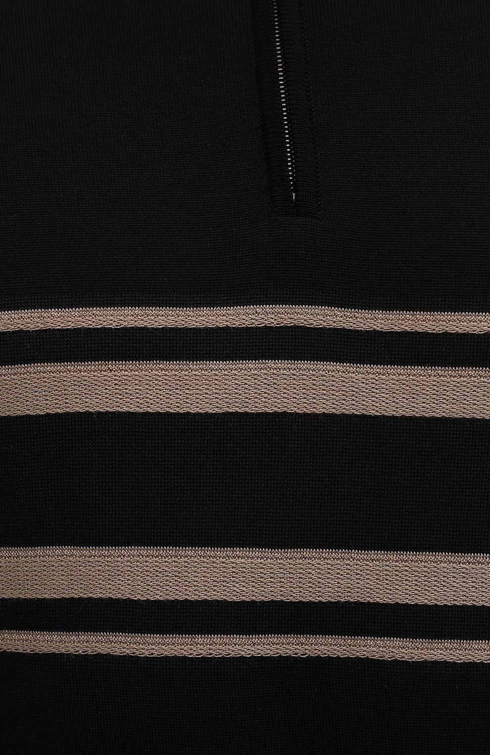 Мужской джемпер из шерсти и шелка BRIONI черного цвета, арт. UMS70L/09K86 | Фото 5 (Мужское Кросс-КТ: Джемперы; Материал внешний: Шерсть; Рукава: Длинные; Длина (для топов): Стандартные; Принт: С принтом; Вырез: Круглый; Стили: Кэжуэл)