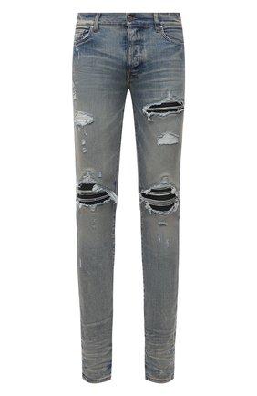 Мужские джинсы AMIRI голубого цвета, арт. XMD001-408   Фото 1 (Материал внешний: Хлопок; Длина (брюки, джинсы): Стандартные; Кросс-КТ: Деним; Силуэт М (брюки): Узкие; Детали: Потертости; Стили: Гранж)