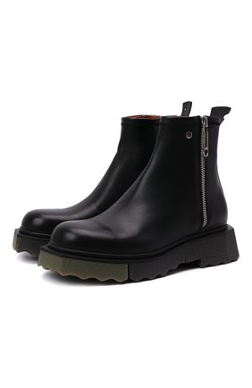 Мужские кожаные сапоги OFF-WHITE черного цвета, арт. 0MID004F21LEA0011056 | Фото 1 (Подошва: Массивная; Материал внутренний: Натуральная кожа; Каблук высота: Высокий; Мужское Кросс-КТ: Сапоги-обувь)