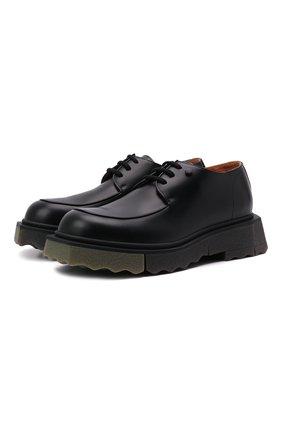 Мужские кожаные дерби OFF-WHITE черного цвета, арт. 0MIF002F21LEA0011056   Фото 1 (Материал внутренний: Натуральная кожа; Стили: Классический)