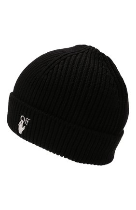 Мужская шерстяная шапка OFF-WHITE черного цвета, арт. 0MLC016F21KNI001   Фото 2 (Материал: Шерсть; Кросс-КТ: Трикотаж)