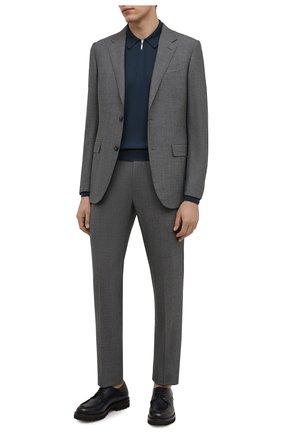 Мужские кожаные дерби W.GIBBS темно-синего цвета, арт. 0212003/2532   Фото 2 (Материал внутренний: Натуральная кожа; Стили: Классический)