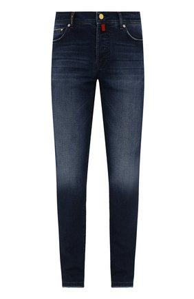 Мужские джинсы KITON синего цвета, арт. UPNJSM/J0343A   Фото 1 (Материал внешний: Хлопок; Длина (брюки, джинсы): Стандартные; Кросс-КТ: Деним; Стили: Кэжуэл; Силуэт М (брюки): Прямые; Детали: Потертости)