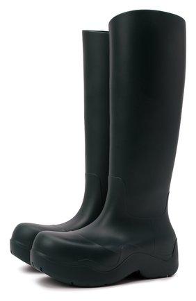 Женские резиновые сапоги bv puddle BOTTEGA VENETA темно-зеленого цвета, арт. 667222/V00P0 | Фото 1 (Материал внутренний: Текстиль, Натуральная кожа; Материал внешний: Резина; Каблук тип: Устойчивый; Каблук высота: Низкий, Средний; Высота голенища: Высокие, Средние; Подошва: Платформа)