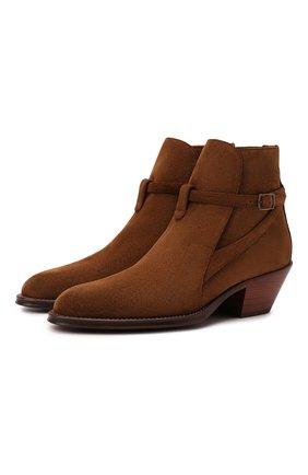 Женские замшевые ботинки SAINT LAURENT коричневого цвета, арт. 670298/1NZ00 | Фото 1 (Каблук высота: Низкий; Материал внутренний: Натуральная кожа; Подошва: Плоская; Каблук тип: Устойчивый; Женское Кросс-КТ: Казаки-ботинки; Материал внешний: Замша)