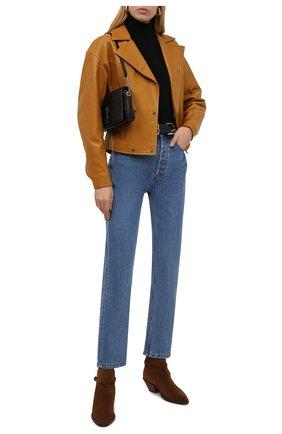 Женские замшевые ботинки SAINT LAURENT коричневого цвета, арт. 670298/1NZ00 | Фото 2 (Каблук высота: Низкий; Материал внутренний: Натуральная кожа; Подошва: Плоская; Каблук тип: Устойчивый; Женское Кросс-КТ: Казаки-ботинки; Материал внешний: Замша)
