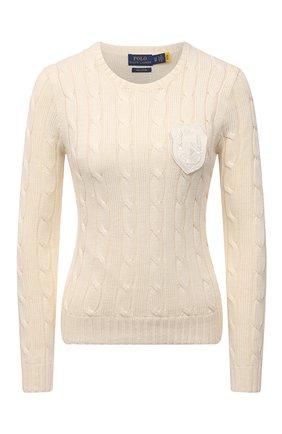 Женский хлопковый свитер POLO RALPH LAUREN кремвого цвета, арт. 211847019 | Фото 1 (Рукава: Длинные; Материал внешний: Хлопок; Длина (для топов): Стандартные; Стили: Кэжуэл; Женское Кросс-КТ: Свитер-одежда)