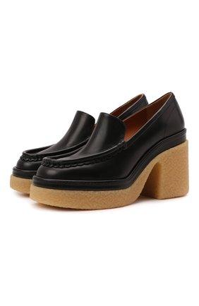Женские кожаные туфли jamie CHLOÉ черного цвета, арт. CHC21W524D5   Фото 1 (Подошва: Платформа; Каблук высота: Высокий; Материал внутренний: Натуральная кожа; Каблук тип: Устойчивый)