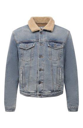 Мужская джинсовая куртка OFF-WHITE голубого цвета, арт. 0MYE074F21DEN002   Фото 1 (Рукава: Длинные; Длина (верхняя одежда): Короткие; Материал подклада: Хлопок; Материал внешний: Хлопок; Кросс-КТ: Куртка, Деним; Стили: Гранж)