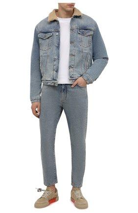 Мужская джинсовая куртка OFF-WHITE голубого цвета, арт. 0MYE074F21DEN002   Фото 2 (Рукава: Длинные; Длина (верхняя одежда): Короткие; Материал подклада: Хлопок; Материал внешний: Хлопок; Кросс-КТ: Куртка, Деним; Стили: Гранж)