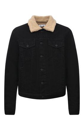 Мужская джинсовая куртка OFF-WHITE черного цвета, арт. 0MYE074F21DEN001   Фото 1 (Материал внешний: Хлопок; Материал подклада: Синтетический материал; Кросс-КТ: Куртка, Деним; Длина (верхняя одежда): Короткие; Стили: Гранж; Рукава: Длинные)