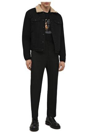 Мужская джинсовая куртка OFF-WHITE черного цвета, арт. 0MYE074F21DEN001   Фото 2 (Материал внешний: Хлопок; Материал подклада: Синтетический материал; Кросс-КТ: Куртка, Деним; Длина (верхняя одежда): Короткие; Стили: Гранж; Рукава: Длинные)