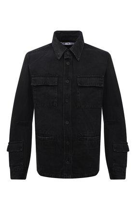 Мужская джинсовая куртка OFF-WHITE черного цвета, арт. 0MYE070F21DEN001   Фото 1 (Материал внешний: Хлопок; Кросс-КТ: Куртка, Деним; Длина (верхняя одежда): Короткие; Стили: Гранж; Рукава: Длинные)