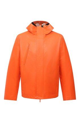 Мужская кожаная куртка OFF-WHITE оранжевого цвета, арт. 0MJA076F21LEA001 | Фото 1 (Длина (верхняя одежда): Короткие; Рукава: Длинные; Кросс-КТ: Куртка; Мужское Кросс-КТ: Кожа и замша; Стили: Гранж; Shop in Shop M: Верхняя одежда)