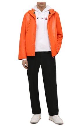 Мужская кожаная куртка OFF-WHITE оранжевого цвета, арт. 0MJA076F21LEA001 | Фото 2 (Длина (верхняя одежда): Короткие; Рукава: Длинные; Кросс-КТ: Куртка; Мужское Кросс-КТ: Кожа и замша; Стили: Гранж; Shop in Shop M: Верхняя одежда)