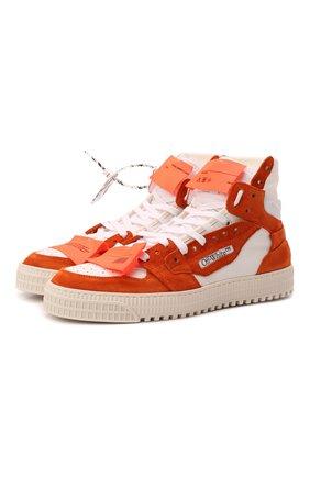 Мужские комбинированные кеды off-court 3.0 OFF-WHITE оранжевого цвета, арт. 0MIA065F21LEA0032010 | Фото 1 (Материал внутренний: Натуральная кожа, Текстиль; Подошва: Массивная)