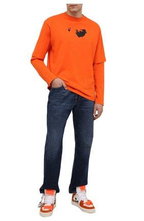 Мужские комбинированные кеды off-court 3.0 OFF-WHITE оранжевого цвета, арт. 0MIA065F21LEA0032010 | Фото 2 (Материал внутренний: Натуральная кожа, Текстиль; Подошва: Массивная)