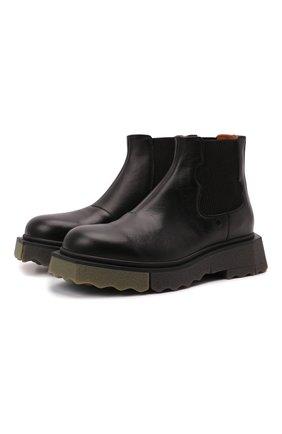 Мужские кожаные челси OFF-WHITE черного цвета, арт. 0MIE002F21LEA0011056 | Фото 1 (Материал внутренний: Натуральная кожа; Каблук высота: Высокий; Подошва: Массивная; Мужское Кросс-КТ: Сапоги-обувь, Челси-обувь)
