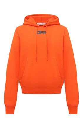 Мужской хлопковое худи OFF-WHITE оранжевого цвета, арт. 0MBB037F21FLE002 | Фото 1 (Материал внешний: Хлопок; Мужское Кросс-КТ: Худи-одежда; Принт: С принтом; Стили: Спорт-шик; Рукава: Длинные; Длина (для топов): Стандартные)