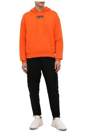 Мужской хлопковое худи OFF-WHITE оранжевого цвета, арт. 0MBB037F21FLE002 | Фото 2 (Материал внешний: Хлопок; Мужское Кросс-КТ: Худи-одежда; Принт: С принтом; Стили: Спорт-шик; Рукава: Длинные; Длина (для топов): Стандартные)